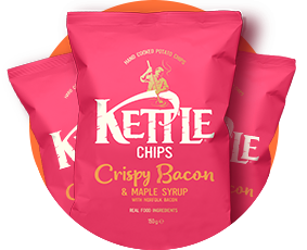 Kettle Chips Crispy Bacon and Maple Syrup Crisps 150g Packs in Circle